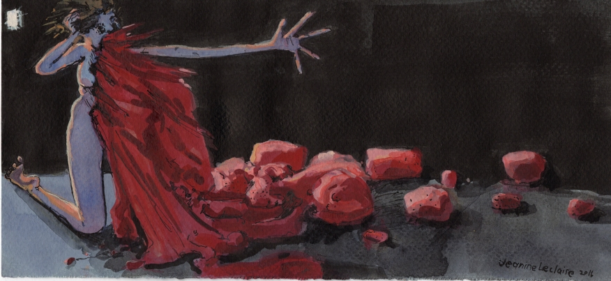 Nude Woman With Red Stuff Spilling Out of Her