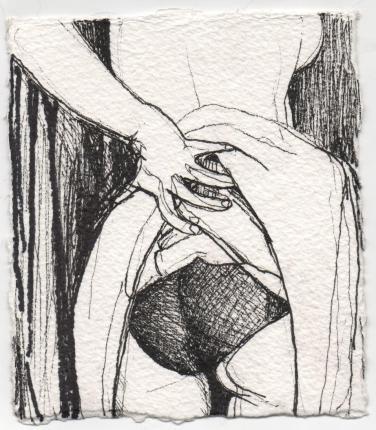 holding skirt up