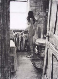 Nude standing female in a bathroom