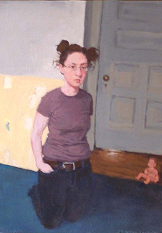 Clothed Woman With Glasses Kneeling on the Floor