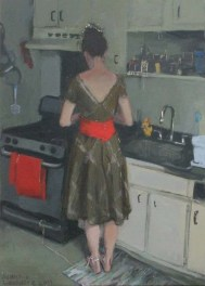 Woman in a Dress in the Kitchen