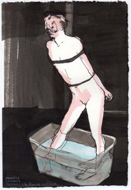 Tied up person with their feet in a tub