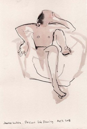 Loose sketch of a person inside an a container
