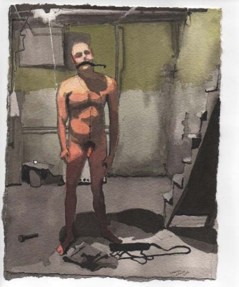 Standing Man with a Ball Gag in the Basement