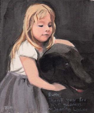 Little Blonde Girl Hugging a Black Lab