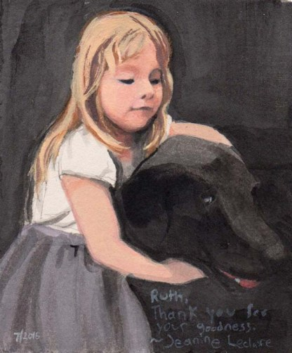 Little Blonde Girl Hugging a Black Lab