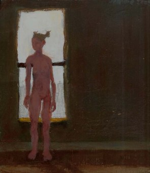 Nude woman standing in front of window