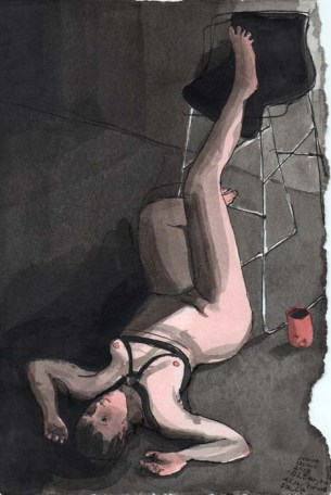 Woman Tied Up on The Ground with her Foot on a Chair