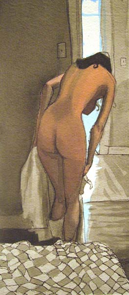 Nude woman getting dressed