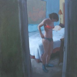 Woman with Mismatched Underwear in Bedroom