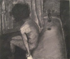 Woman lying on the edge of a tub