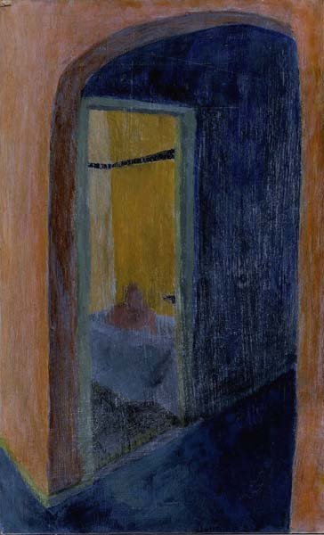 A view of the bathroom with a man in the tub