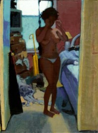 Naked standing woman in a messy bedroom