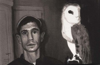White Man With a Hat with an Owl
