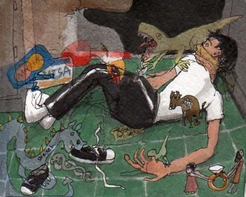 Ant Lying on the Floor with Animals Eating Him