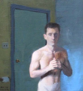 Cropped view of nude standing man next to a door