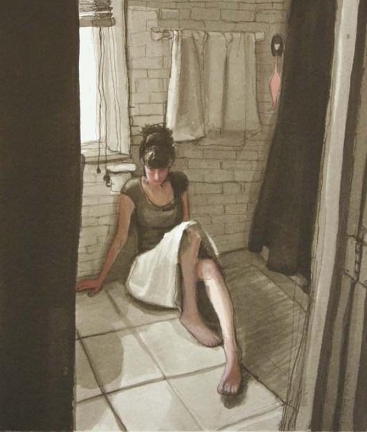Clothed Woman Lying on Bathroom Floor