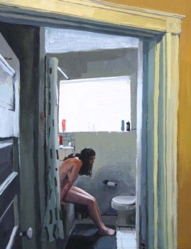 A Naked White Woman with Black Hair Thinking in the Bathroom