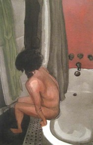 Nude person sitting on the edge of a tub