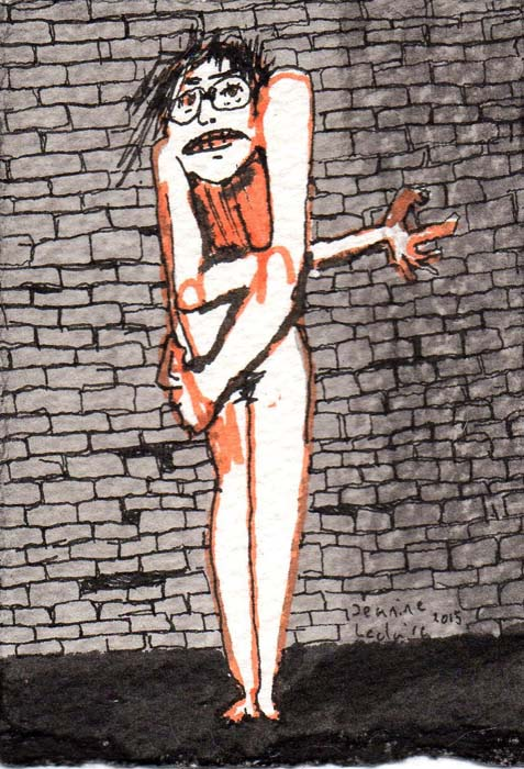 Standing Nude Hunched over with Glasses and Anxious Expression