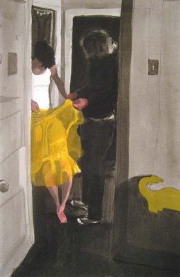 Two people holding up a yellow object