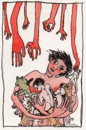 Woman Holding Babies and Animals with Hands Trying to Grab