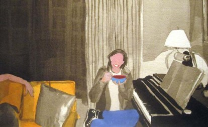 Woman eating cereal next to a piano