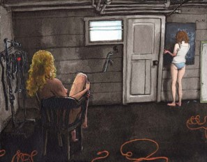 A Nude Woman Staring at a Woman Drawing on a Chalkboard with No Pants