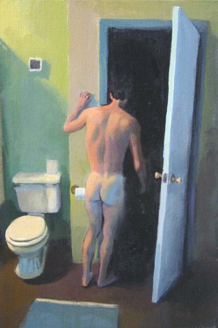 Naked Man in Bathroom Checking Closet