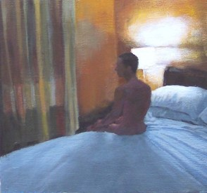 Naked Man Lying at the Edge of a Bed