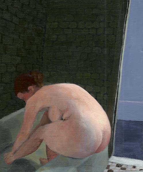 Nude Woman Washing her feet in a tub