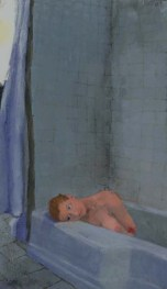 Woman lying in bathtub