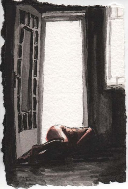 Naked Woman Lying on the Floor Next to a Door