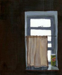 """Window with a curtain and a containter labeled """"comet"""""""
