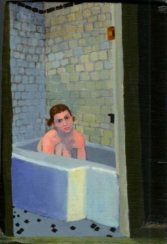 Woman lying in bath tub staring at viewer