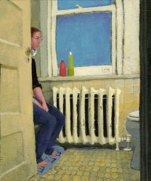 Clothed Woman sitting in front of a toilet
