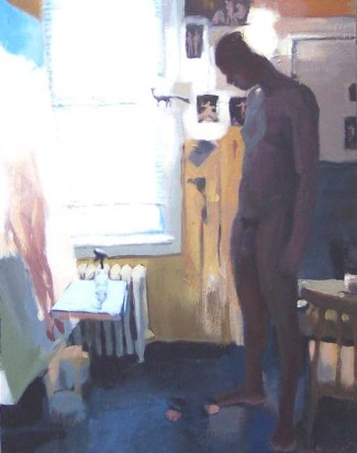 Naked Man Next to a Painting