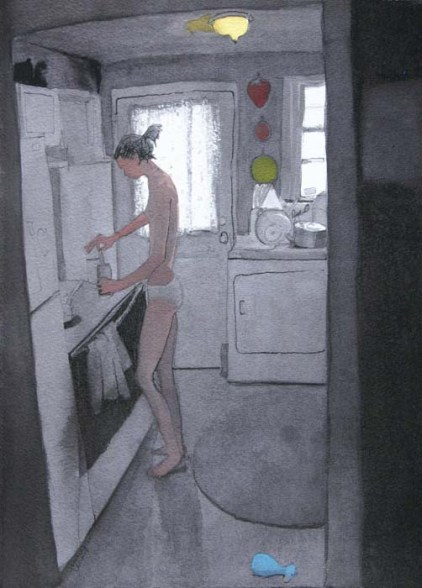 Woman in a kitchen opening something up