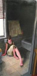 Woman in a skirt lying on the bathroom floor