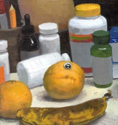 Lemon with a googly eye next to fruit and vitamins