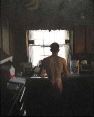 Nude man washing dishes
