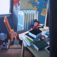 Messy room with books, a baby doll, and a woman on the floor