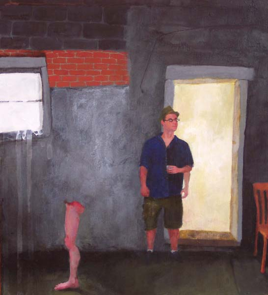 Clothed man in a dark room with a standing leg with no body
