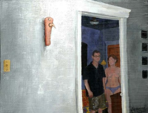 Object on the wall with a view into the next room; in the next room, there is a clothed man and a woman in her underwear