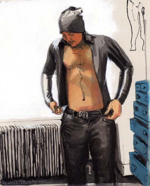 Half-Naked Man With a Black Hat Putting a Black Sweater On