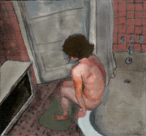 Birds eye view of nude person sitting on the edge of a tub