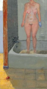 Nude standing woman in a tub with a scar on her gallbladder and a medical glove