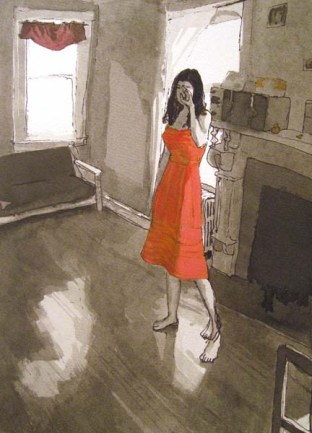 Standing woman in an orange dress in a living room