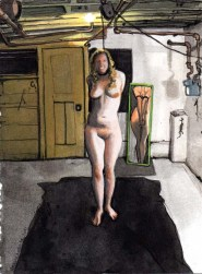Standing Woman Tied Up in the Basement