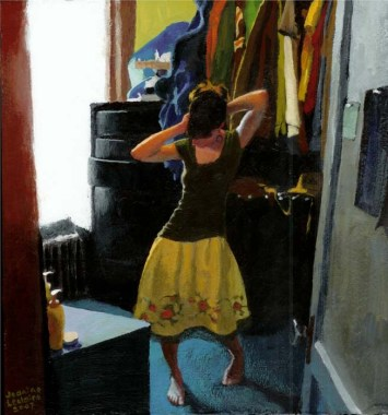 Woman getting ready to go out in a bedroom